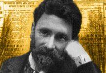 Joseph Pulitzer fotografato in redazione