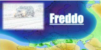 Nevica nel Nord Europa